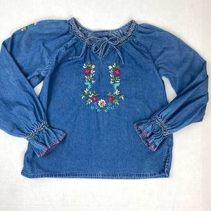 Embroidered Chambray Denim Long Sleeve Peasant Top